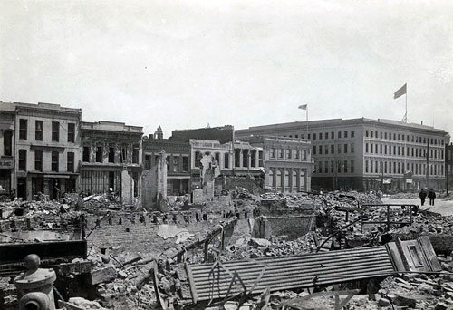 1906 earthquake, Montgomery Street block, SF