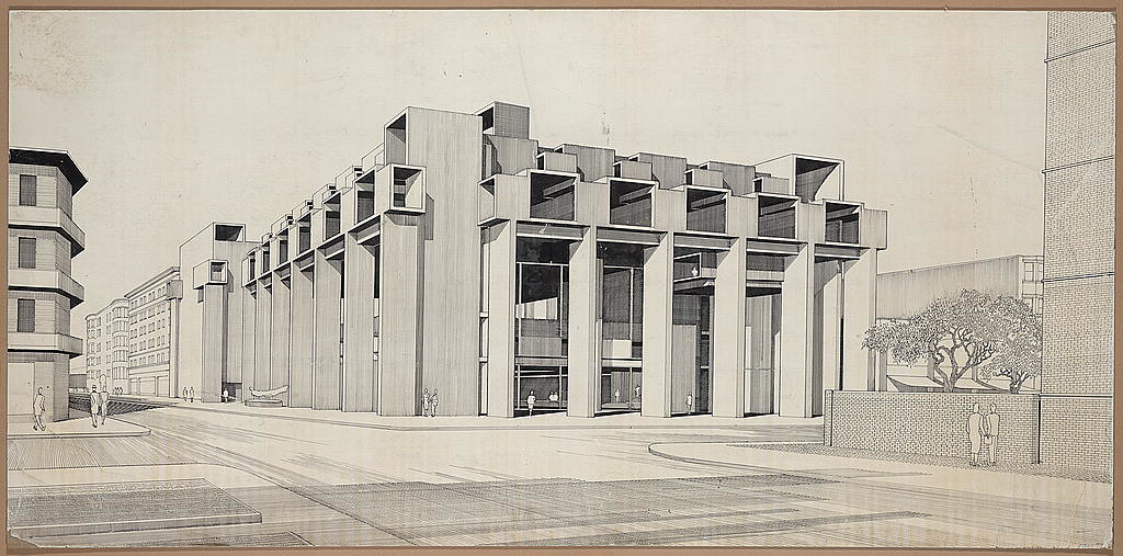 Paul Rudolph drawing, Yale Art & Architecture Building