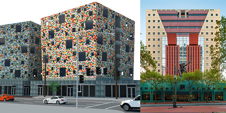 New PDX development vs. post-modern Portland Building